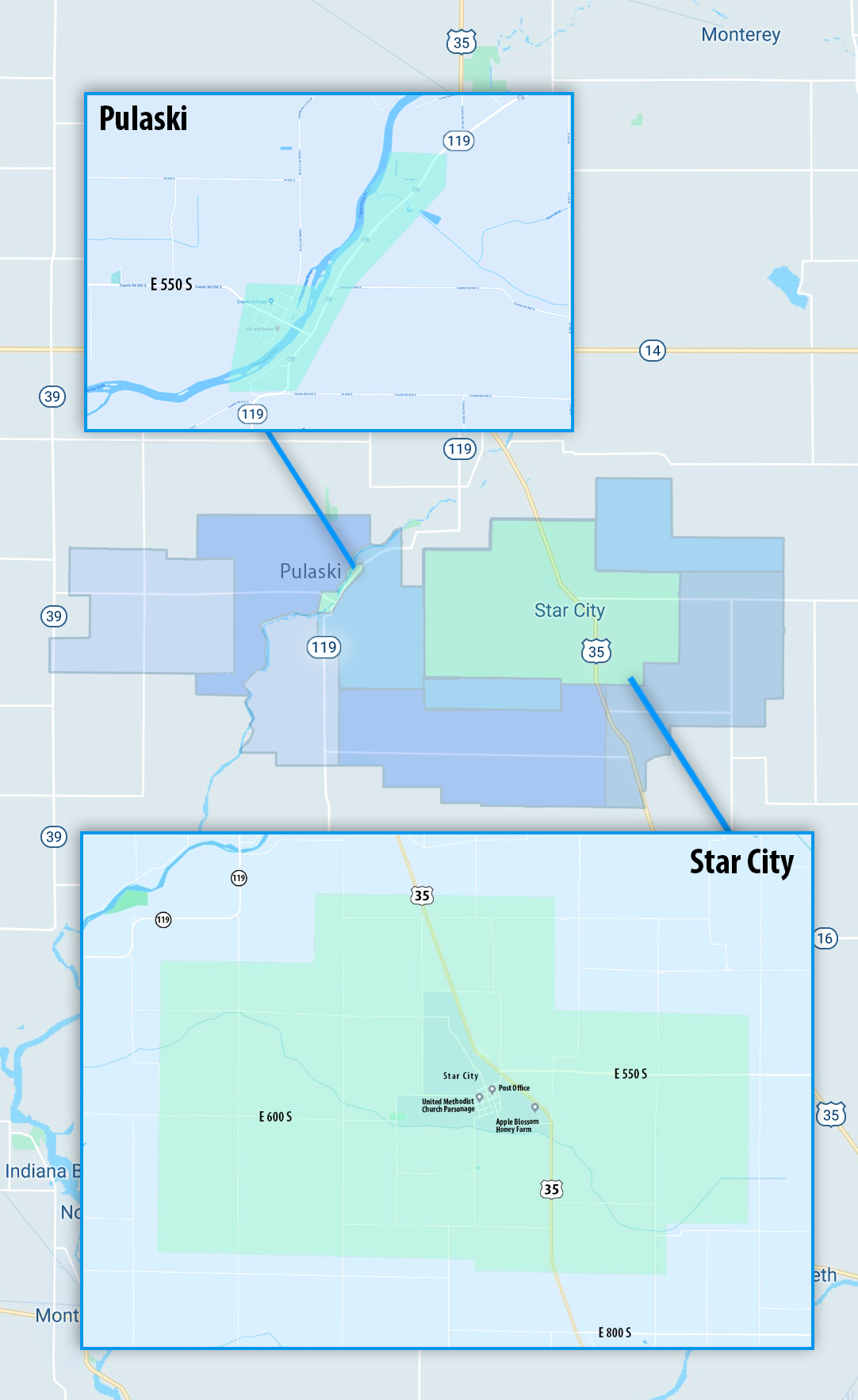 PULASKI STAY CITY MAP